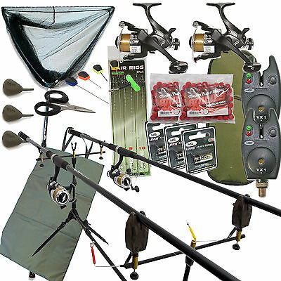 Full Carp fishing Set Up Complete With Rods Reels Alarms Landing Net And Tackle