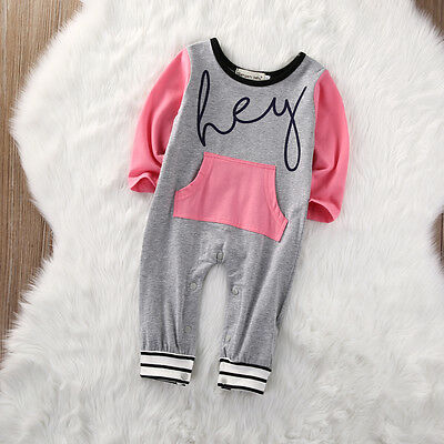 Infant Baby Girls Hey Romper Jumpsuit Bodysuit Striped Clothes Outfit US Stock