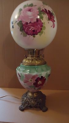Large Antique Gone with the Wind oil Lamp  23""