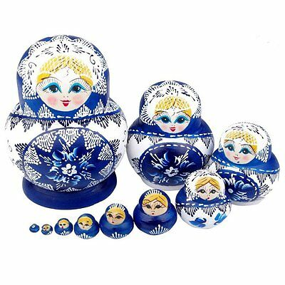 lzn 10pcs/set Nesting Dolls Kit Wooden Matryoshka Russian Dolls Hand Painted
