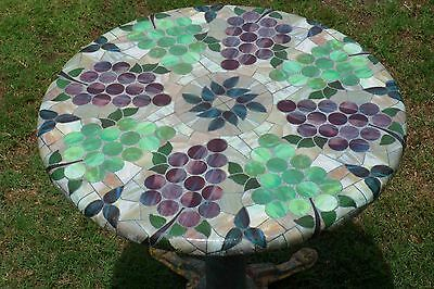 Made N USA Stained Glass Grape Design ROUND FITTED TABLECLOTH Patio TABLE Cover