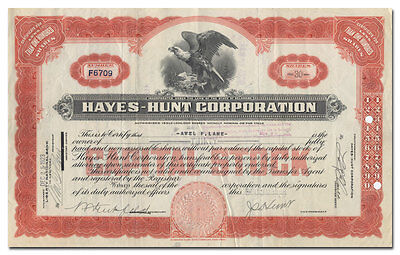Hayes-Hunt Corporation Stock Certificate (Early Auto Body Maker)