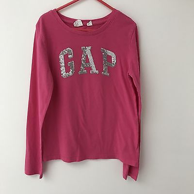 Gap Girls Pink Sequin Long Sleeve Top - Age 8 Years - Excellent Condition