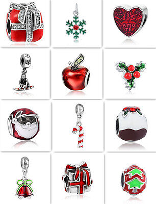 Christmas European Silver Charm Beads Fit sterling 925 Necklace Bracelet Chain