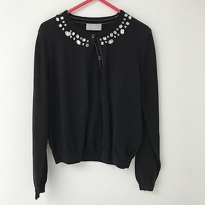 Matalan Girls Black Jewelled Cardigan - Age 8-9 Years - Excellent Condition