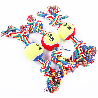 Cotton Knot Rope With Ball Chew Fetch Fun Tug War Play Toy For Pet Puppy Dog Cat