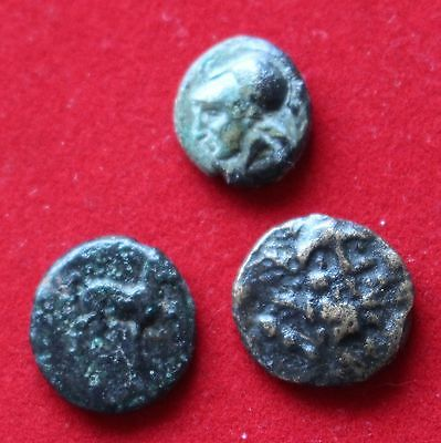3 Unidentified Ancient Greek Bronze Coins