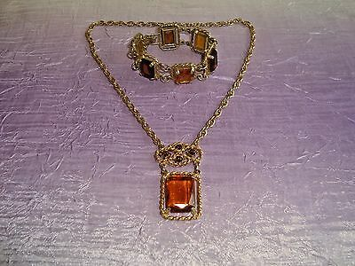 Vintage Sarah Coventry Jewelry Honey Amber Glass Bracelet & Necklace Set