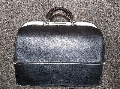 Vintage Black Schell Black Leather Doctor Bag Medical Bag - 58425