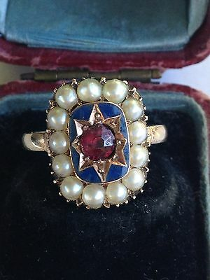 Antique Georgian (1805) Mourning Ring with Seed Pearls and Blue Enamel - Sz 6.5