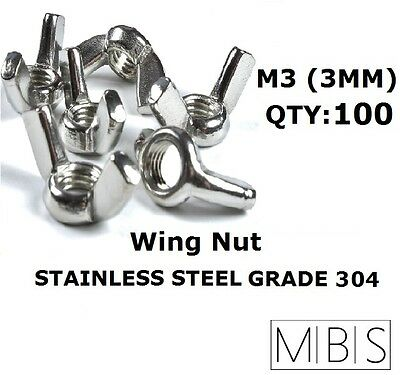 100 x M3 Stainless Steel 304 A2 Wing Nut 3mm Metric DIY - Free Post