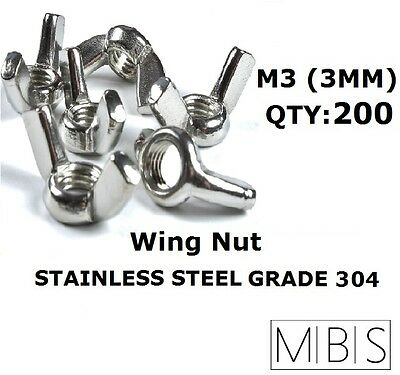 200 x M3 Stainless Steel 304 A2 Wing Nut 3mm Metric DIY - Free Post