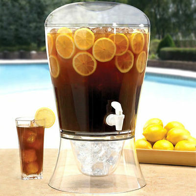 8L Large Drinks Dispenser With Tap & Ice Core Party Beer Keg BBQ Punch Pitcher