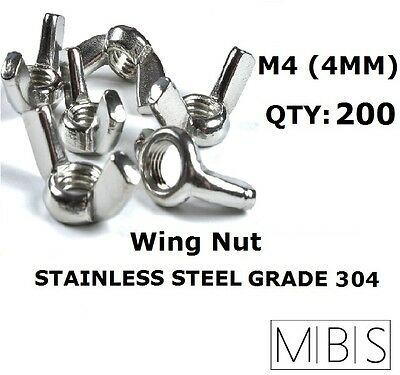 200 x M4 Stainless Steel 304 A2 Wing Nut 4mm Metric DIY - Free Post