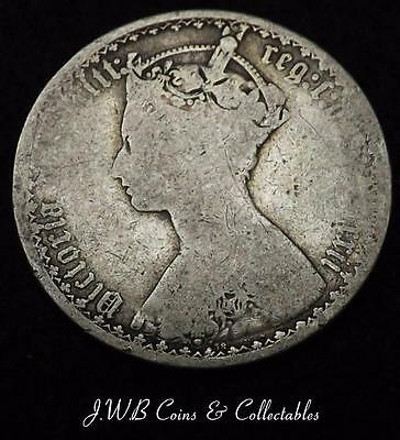 1872 Queen Victoria Silver Gothic Florin Coin - Great Britain