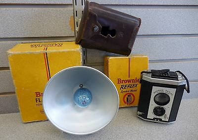 Kodak Brownie Reflex Synchro Model Camera & Flasholder w/ Rare Case