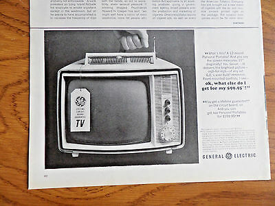 1964 GE General Electric TV Television Ad Portable