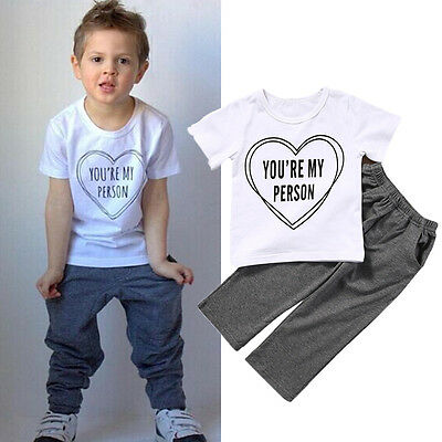 Newborn Infant Baby Boy Kids Cotton Clothes Tops T-shirt Pants Outfits US Stock