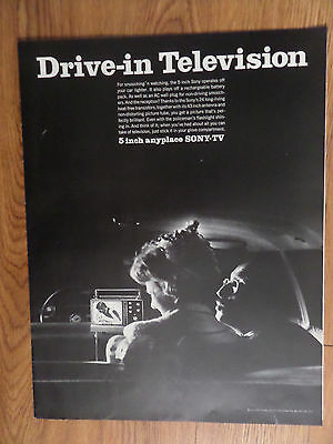 "1966 Sony TV Ad Drive-in Movies  5"" Anyplace Television"