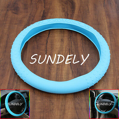 Skidproof Car steering wheel cover 36cm - 40cm Silicone Soft Cover Baby blue New