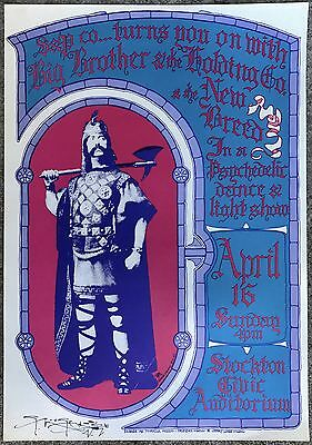 Original 1967 Big Brother Janis Joplin Stockton Concert Poster Signed Mouse Aor