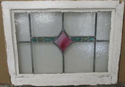 """MID SIZED OLD ENGLISH LEADED STAINED GLASS WINDOW Pretty Diamond 25.25"""" x 19"""""""