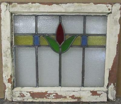 """OLD ENGLISH LEADED STAINED GLASS WINDOW Perfect Abstract Floral 20"""" x 17.5"""""""