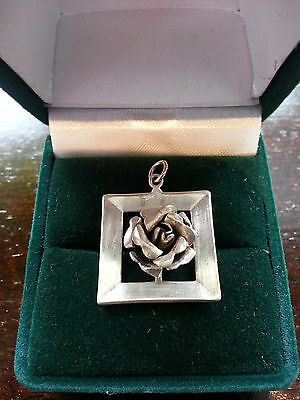 Art Deco Sterling silver Three Dimensional Rose Pendant in Silver Frame - Unique