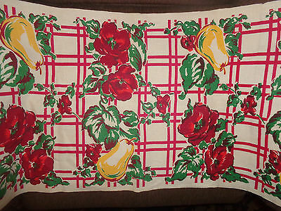 Vintage Linen Print Tablecloth Fabric Curtain Valance Table Runner Fruit Flowers