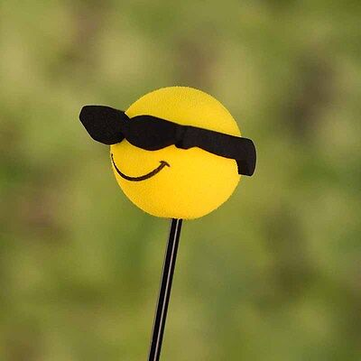Yellow Happy Smiley Face Sunglasses Car Antenna Pen Topper Aerial Ball
