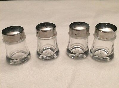 Four JAL Vtg/Ant. Clear Glass Square Salt/Pepper Shakers w/ Metal Mushroom Caps