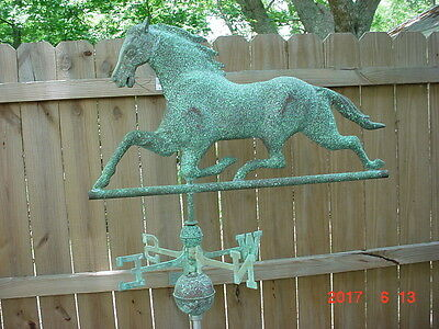 LARGE COPPER HORSE WEATHERVANES 33 inches W/ BALLS AND DIRECTIONALS