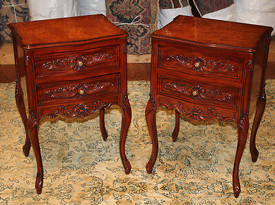 Superb Pair Burled Walnut & Mahogany French Louis XV Night Stands Tables MINT!