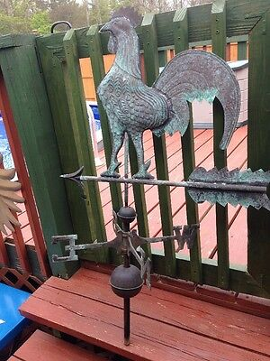Vintage Copper Rooster Weathervane With Brass Directions