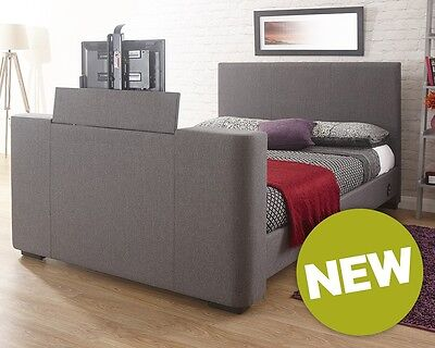 Barnard Grey Fabric Push Button Electric TV Bed Frame 4FT6 Double 5FT King Size