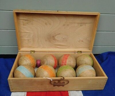 Antique Vintage Decorative Shabby Chic Wooden Balls In A Wooden Case