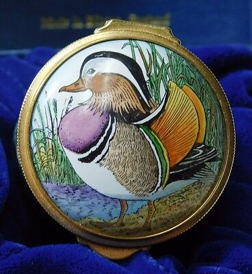 Handpainted Halcyon Days Enamels Ducks Stamp Box Signed Bruce Higham