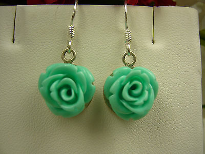 Awesome Avatar Turquoise Gemstone  Flower  Sterling Silver  Dangle Earrings