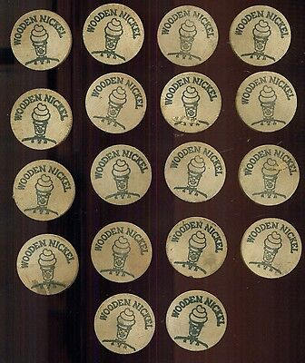 1970's Mister Softee Wooden Nickels Group of 18