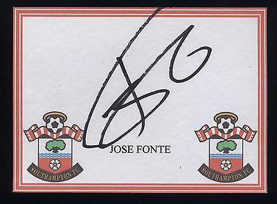Jose Fonte signed Southampton crested card.