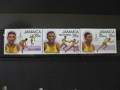 JAMAICA.1980 Olympics Part Set of 4vs Strip of 4 MNH Cat 1.80 (23F)