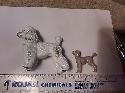 Two Dog Figurines - Poodles 4 Inch Japan & 2 Inch