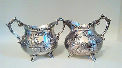 Beautiful Ornate Silver Footed Creamer & Sugarbowl Set Silverplated.