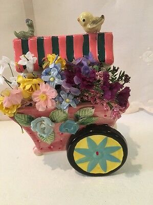 Vintage UCagco Flower Cart With Friends Wall Pocket