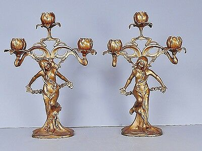 Exquisite Pair Of Antique Art Nouveau Candelabras, Candle Holders