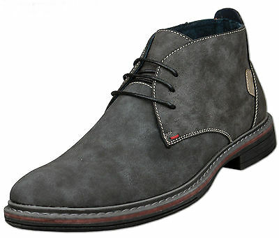 Mens Grey Leather Lined Lace Up Ankle Desert Style Boots Size UK 9 - TO CLEAR
