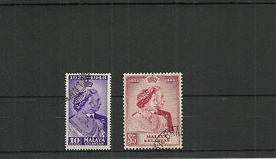 Malaya Kelantan Sg55-56  1948 Silver Wedding Set Used