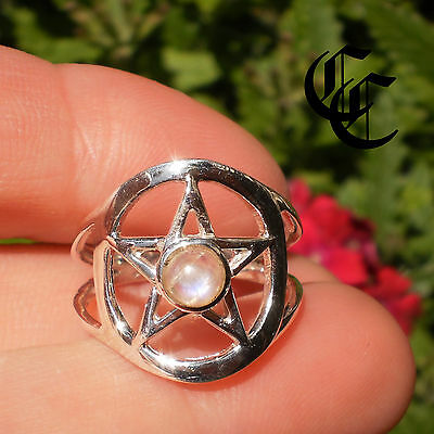 PENTACLE Rainbow Moonstone RING #1 Sterling Silver Pentagram Size 6 Wicca Pagan