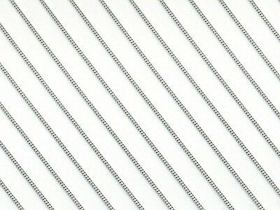Rhodium Plated Sterling Silver Curb Chain - 16 / 18 / 20 inch (White Gold Look)