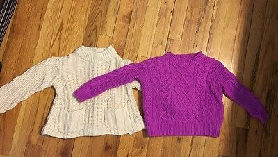 Ralph Lauren (2) Cable Knit Sweaters - Toddler Girl Size 3/3T